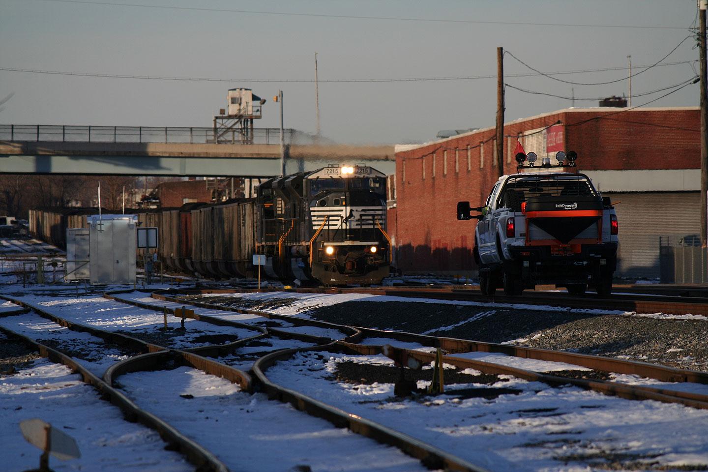 NS SD80MACs Crossing Boston St