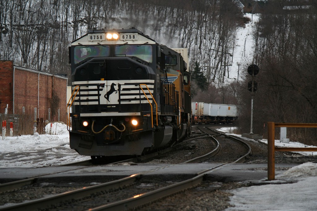 NS SD60I and UP On A Westbound Intermodal