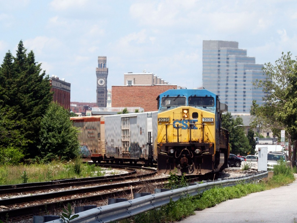 CSX Q398 at Curve Alongside Race St.