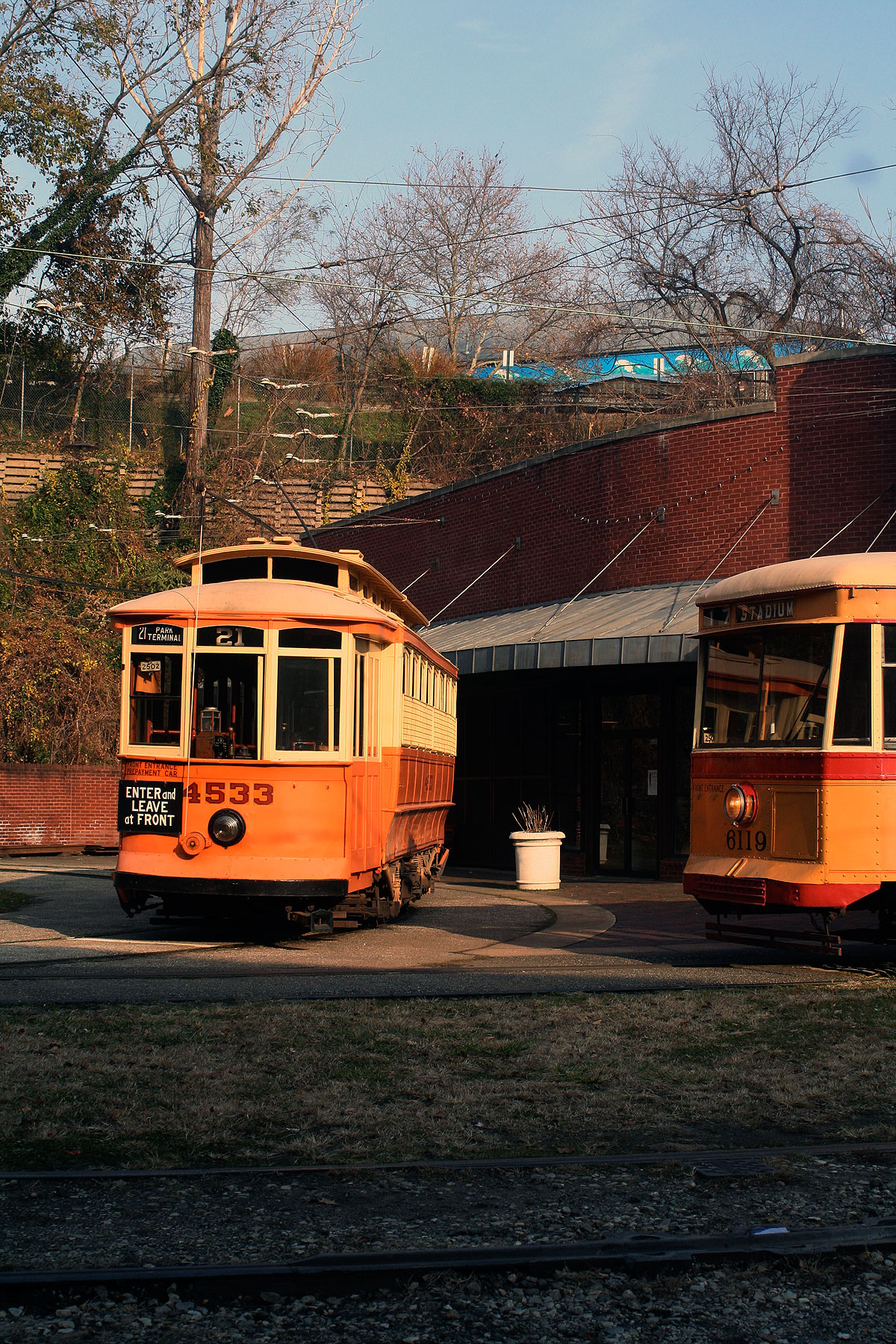 The muesum's Brill and Peter Witt cars.