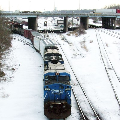 A former Conrail C40-8W, still in blue, is getting its train ready to depart Enola Yard.