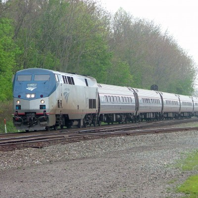 The Eastbound Amtrak Pennsylvanian Approaching Its Station Stop in Lewistown PA