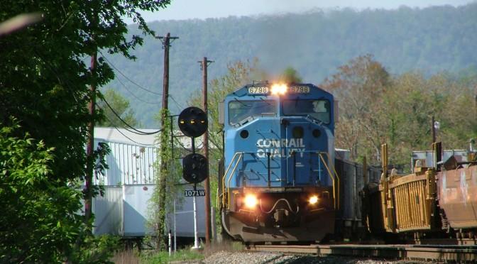 NS SD60M 6798 Leads a Coal Train Off the Harrisburg Fuel Pad