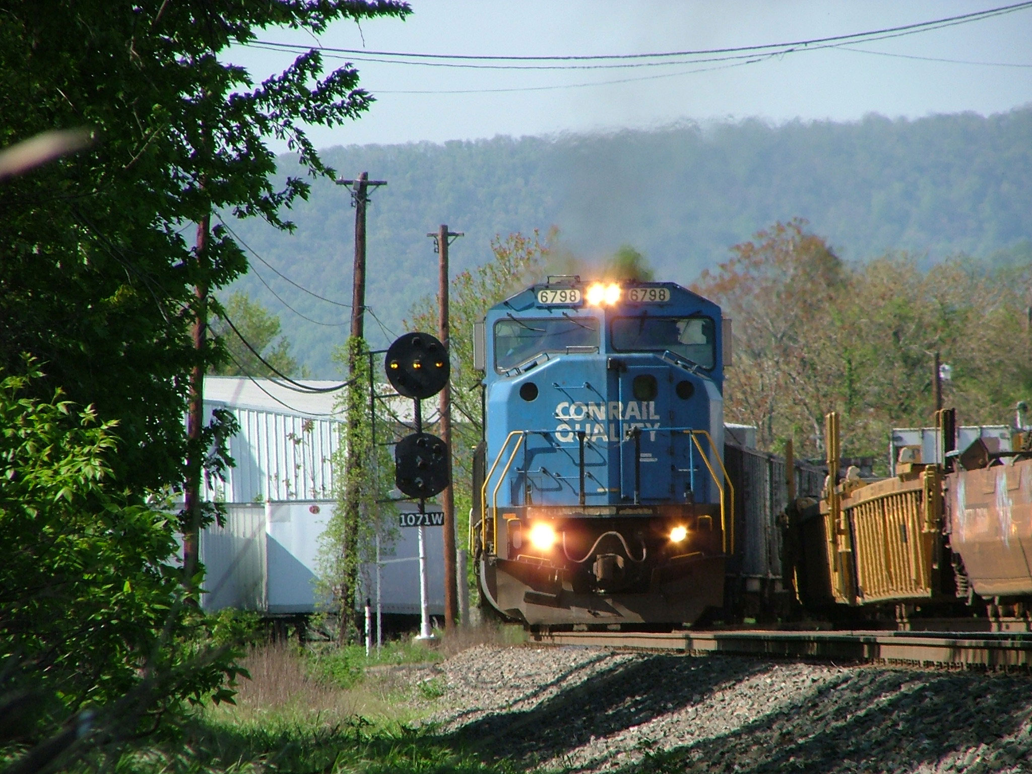 NS SD60M 6798 Leads a Coal Train Off the Harrisburg Fuel Pad