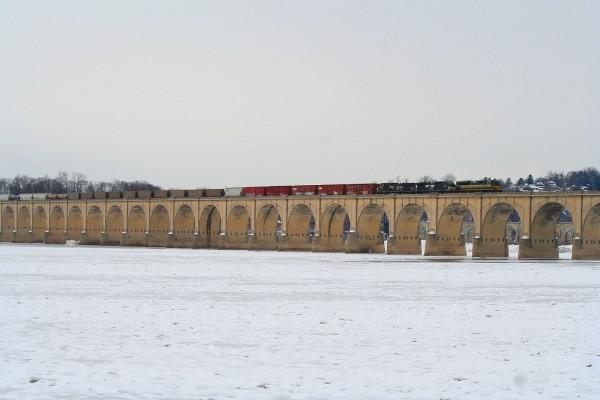 NS Erie Heritage Unit Crossing the Reading Bridge in Harrisburg