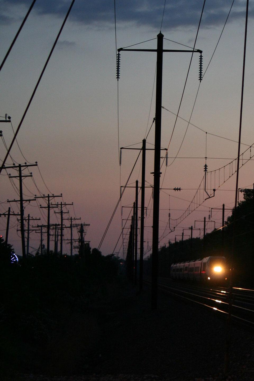 Northbound Amtrak Train at Twilight