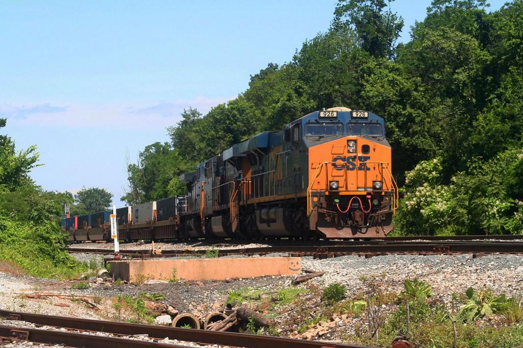 A CSX intermodal train makes its setoff at Bayview Yard in Baltimore.