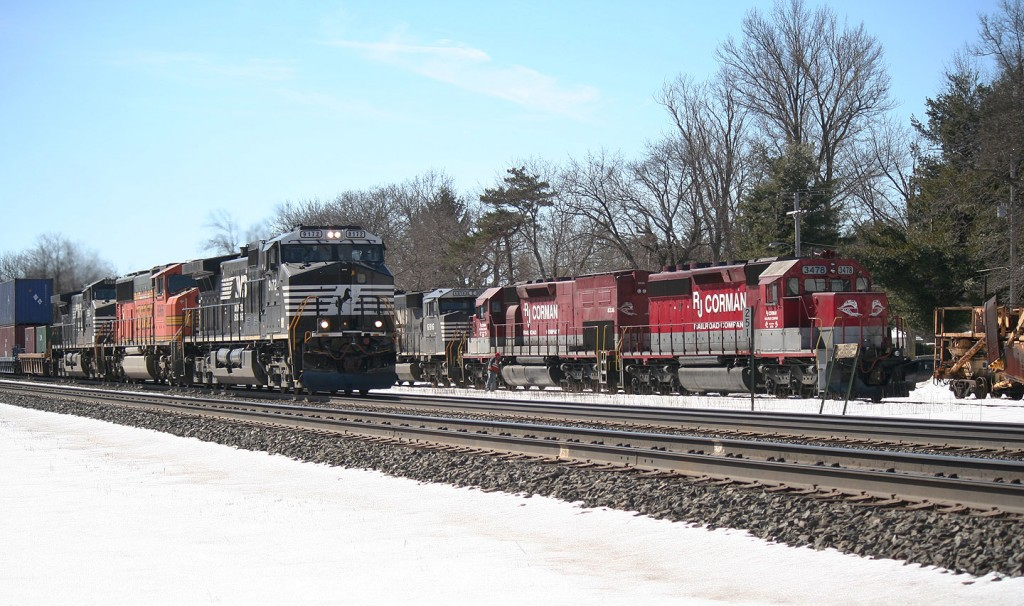NS Intermodal Passing the Corman Train