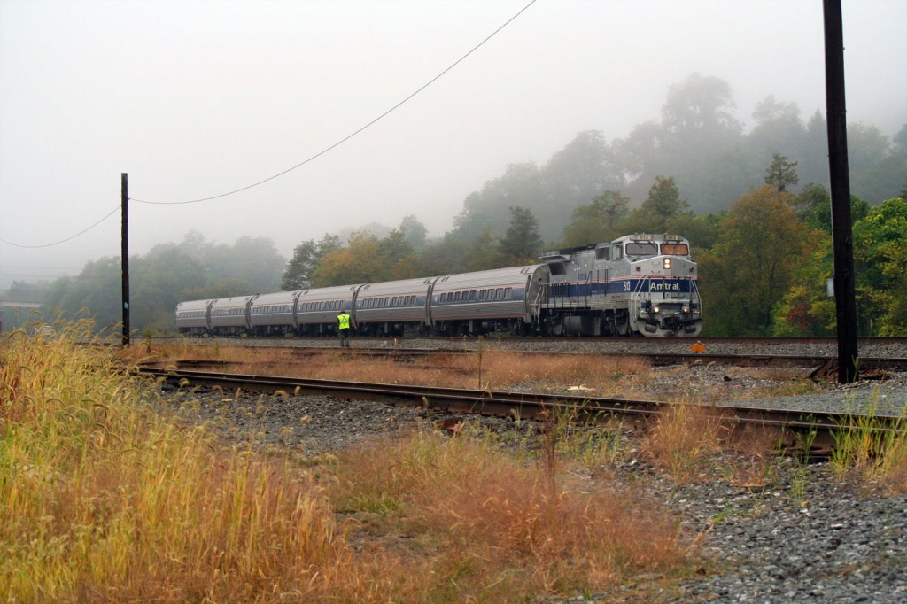 The morning eastbound rolls through the fog in Johnstown.