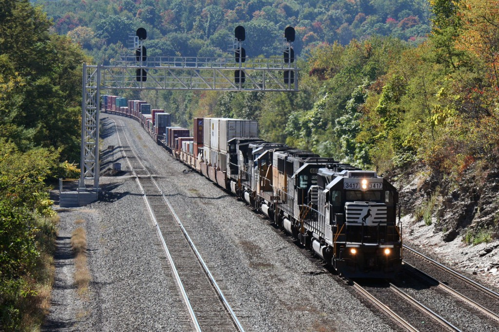 It was a day of SD40-2 leaders, with this stack train coming down off the mountain lead by the EMD classic and full of a bunch of classic power.