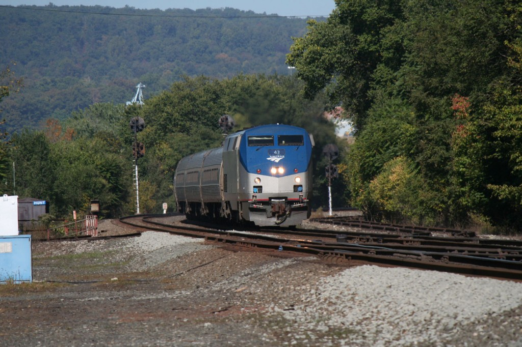 Amtrak's eastbound Pennsylvanian approaching Huntingdon PA