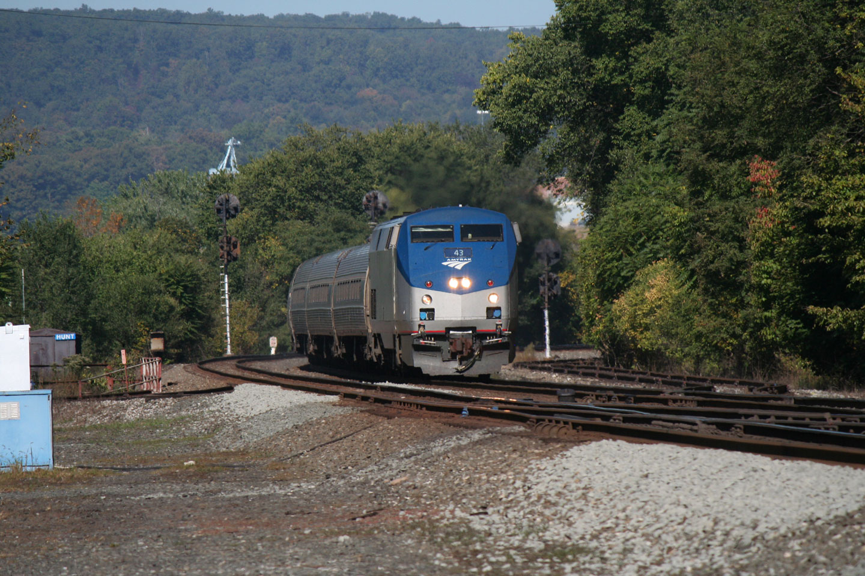 Amtrak's eastbound Pennsylvanian approaching Huntingdon PA