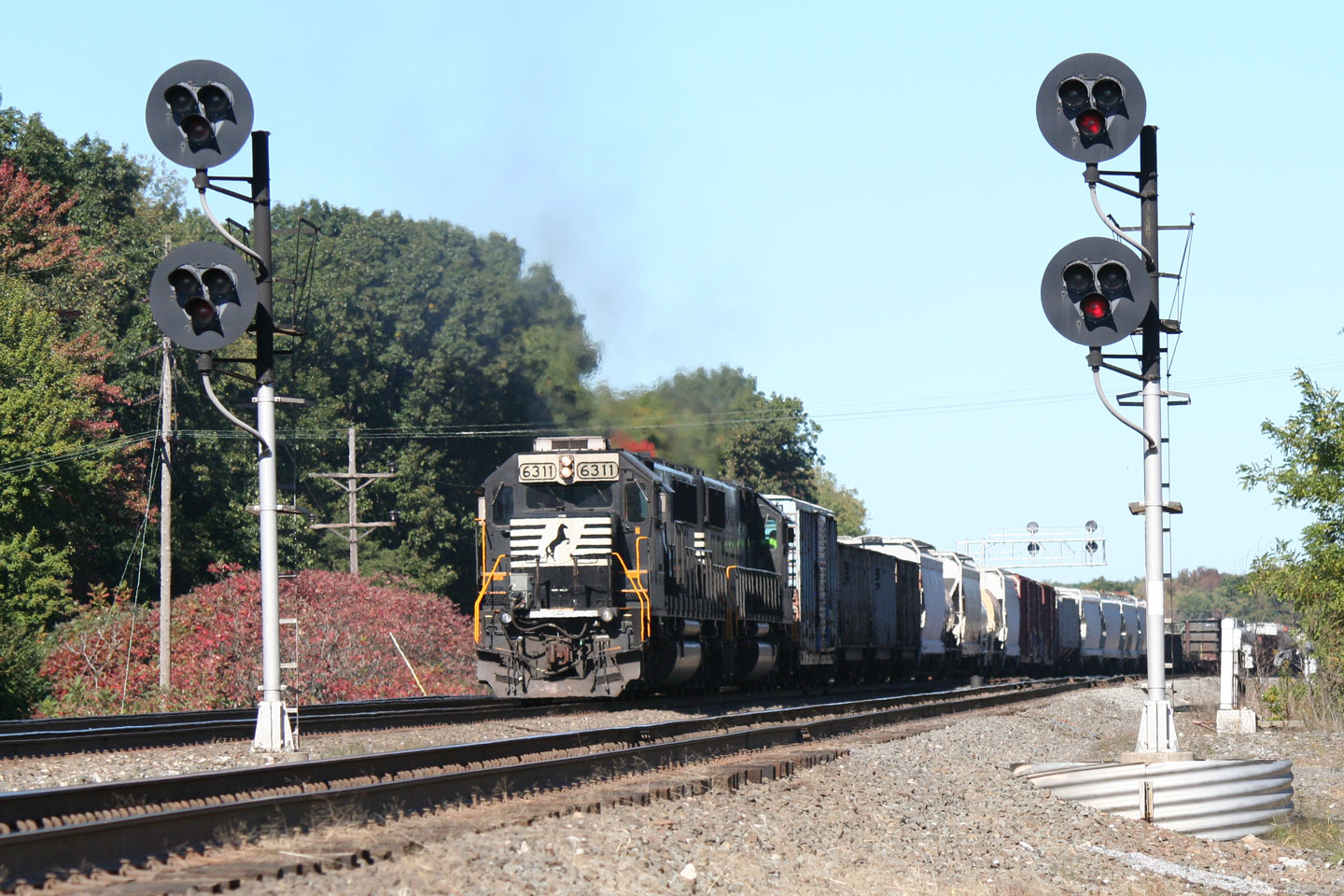 A pair of SD40Es work hard shoving an eastbound over the last few miles of the west slope.