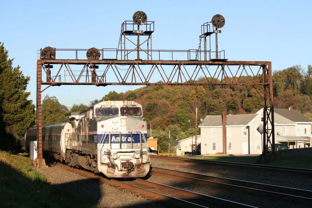 The westbound Amtrak train with a (nationally) rare B32-8WH.