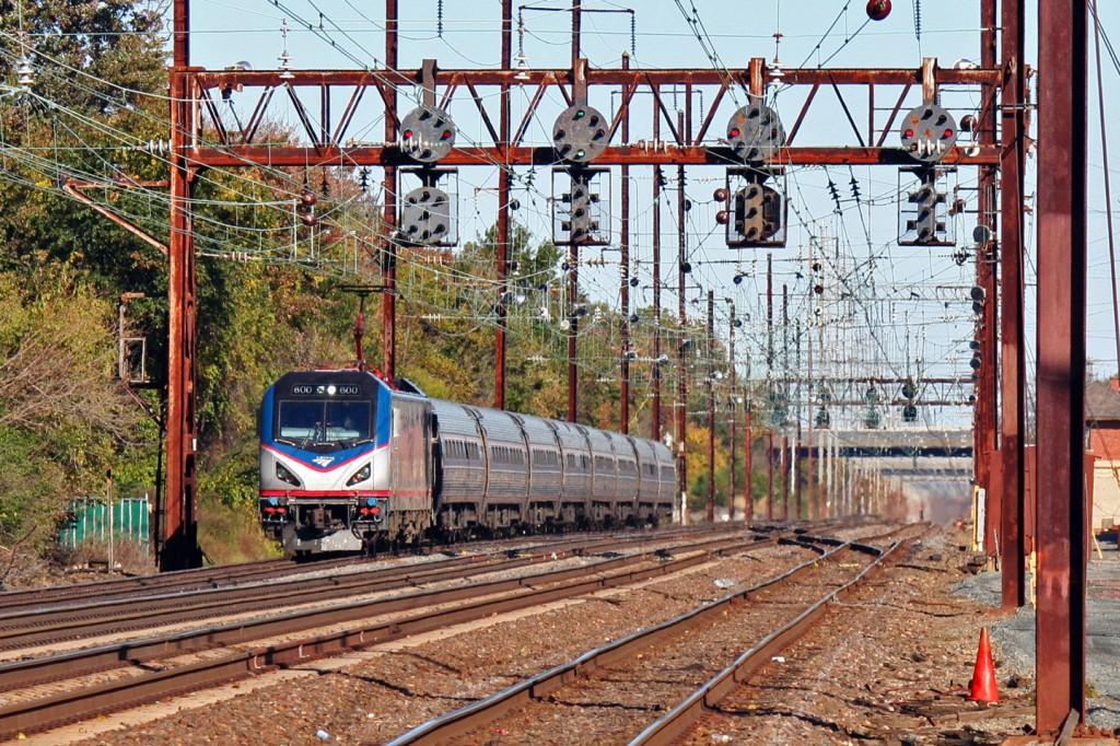A Washington bound Northeast Regional rips through DAVIS interlocking in Newark.
