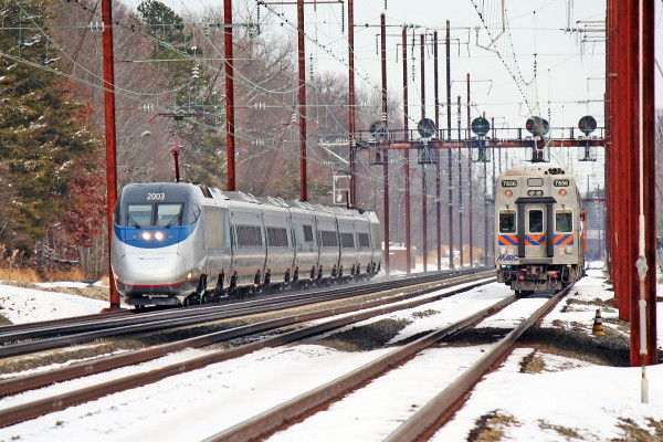 An Acela races the MARC train. We all know who'll win this one.