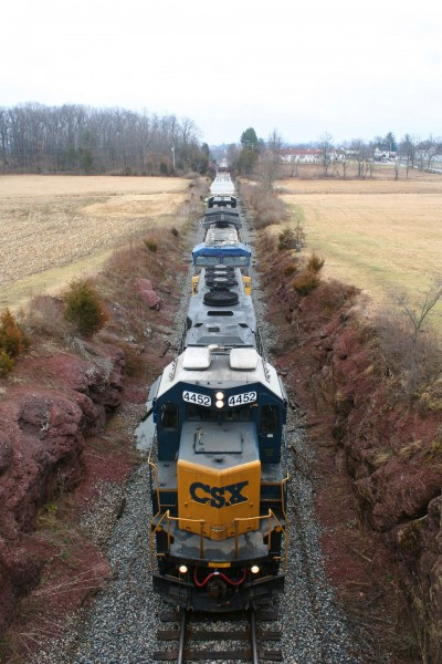 CSX D795 in the McPherson Ridge railway cut which was the seen of heavy fighting on the first day of the Battle of Gettysburg.