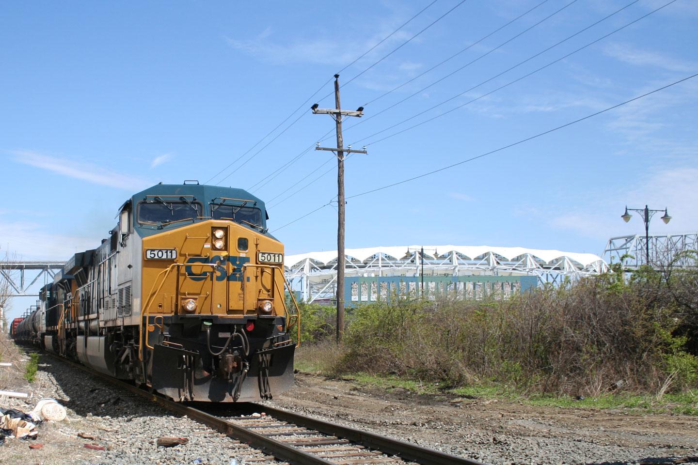 A CSX powered train near PPL Park, where the Philadelphia Union plays.